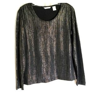 Laura Ashley long sleeve metallic blouse